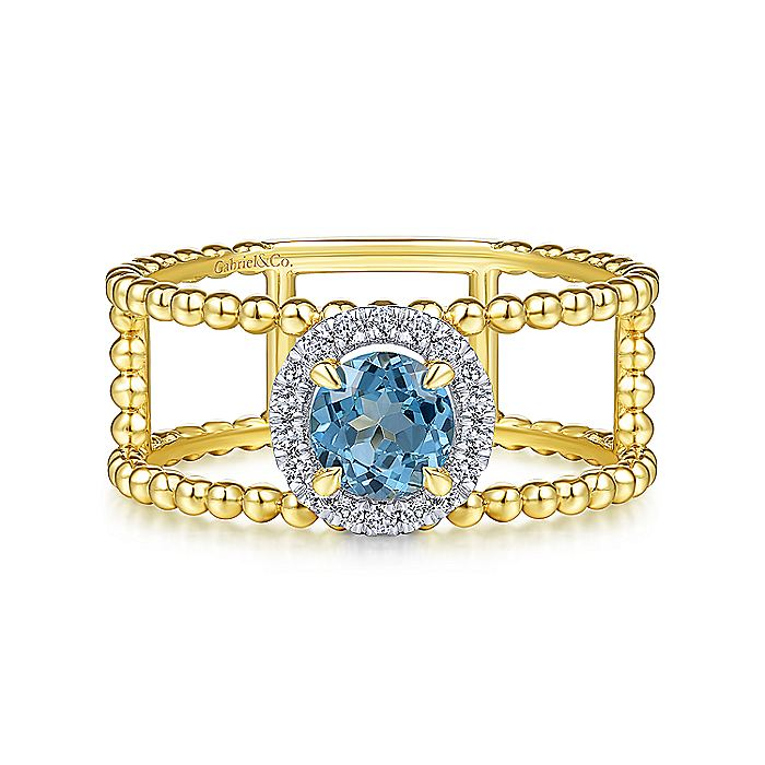 14K Yellow Gold Round Swiss Blue Topaz and Diamond Halo Two Row Ring