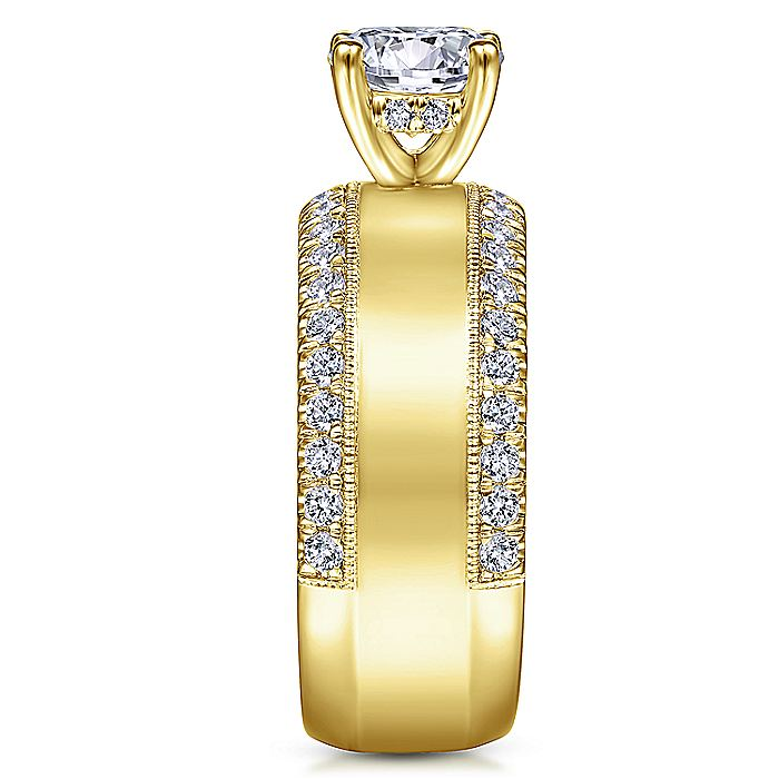 14K Yellow Gold Round Wide Band Diamond Engagement Ring
