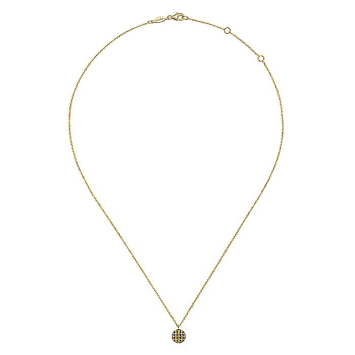 14K Yellow Gold Round Yellow Sapphire Pendant Necklace