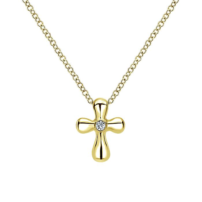 14K Yellow Gold Rounded Diamond Cross Necklace