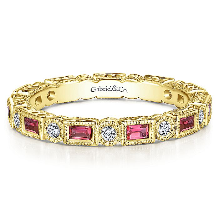 14K Yellow Gold Ruby Baguette and Diamond Round Eternity Ring
