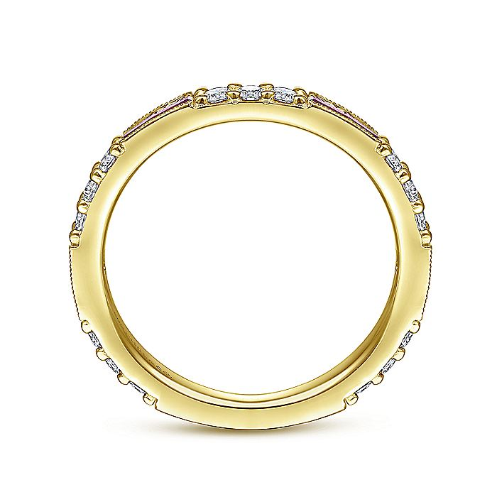 14K Yellow Gold Ruby Baguette and Diamond Stackable Ring