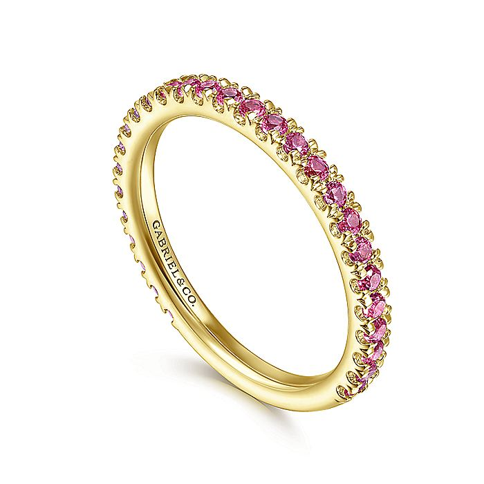 14K Yellow Gold Ruby Stackable Ring
