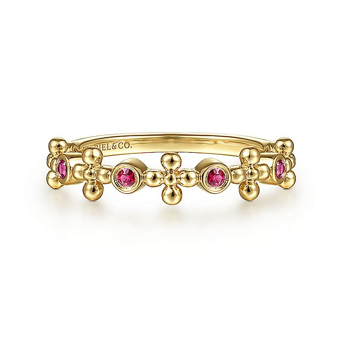 14K Yellow Gold Ruby and Bujukan Bead Station Ring