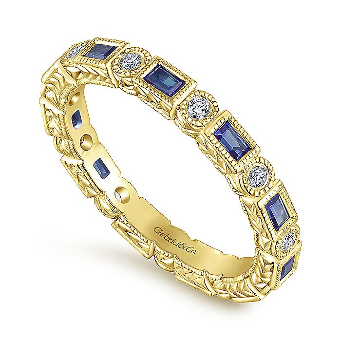 14K Yellow Gold Sapphire Baguette and Diamond Round Eternity Ring