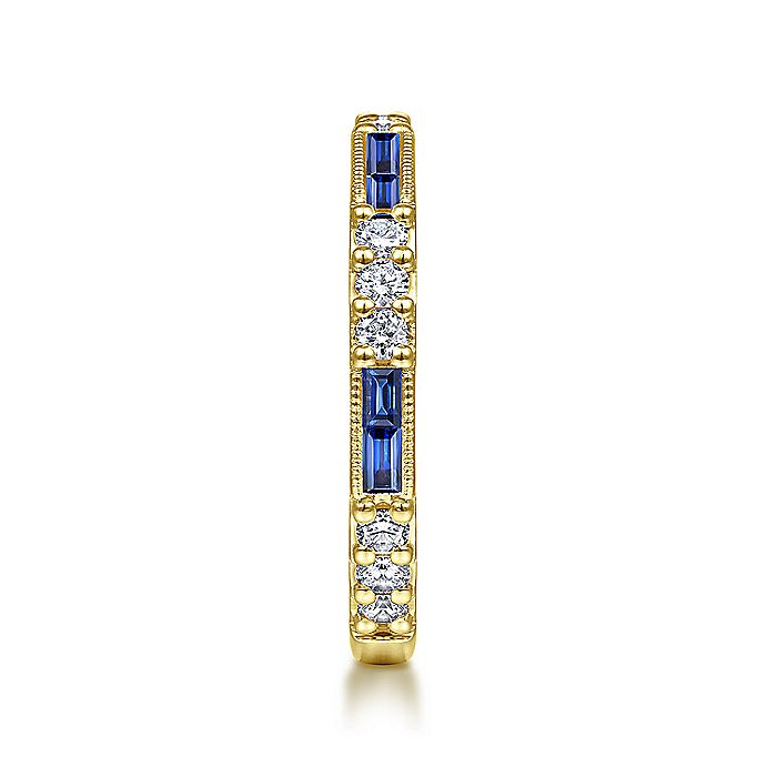 14K Yellow Gold Sapphire Baguette and Diamond Stackable Ring
