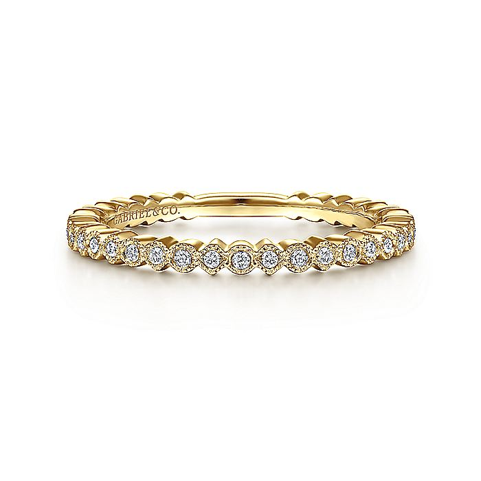 14K Yellow Gold Scalloped Stackable Diamond Band