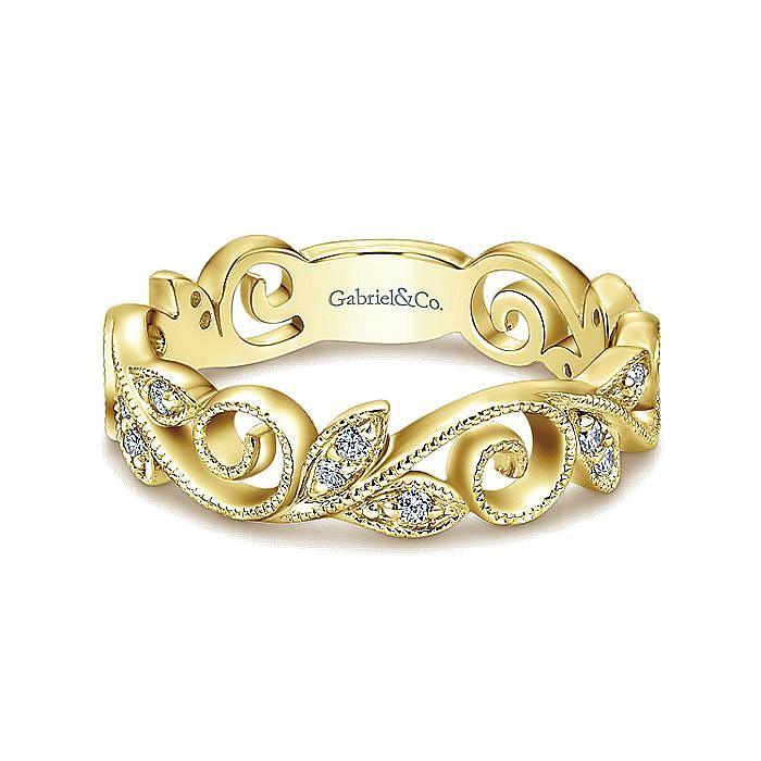 14K Yellow Gold Scrolling Floral Diamond Midi Ring