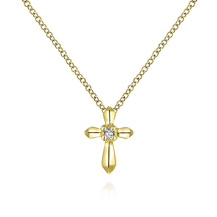 14K Yellow Gold Sculpted Diamond Cross Pendant Necklace