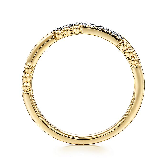 14K Yellow Gold Segmented Beaded Diamond Stackable Ring