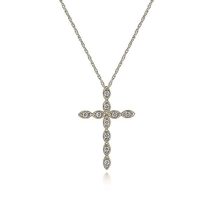 14K Yellow Gold Segmented Diamond Cross Necklace