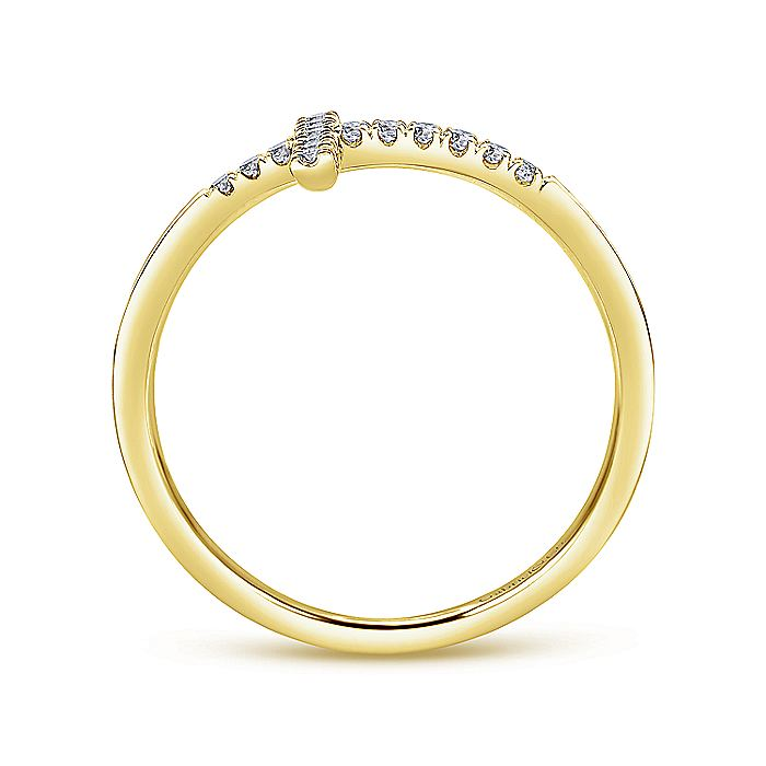 14K Yellow Gold Sideways Cross Diamond Ring