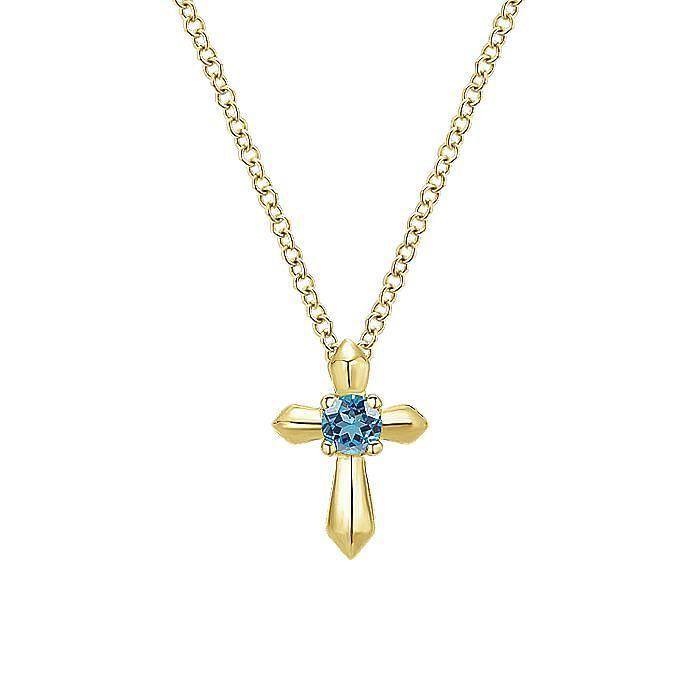 14K Yellow Gold Sky Blue Topaz Cross Pendant Necklace