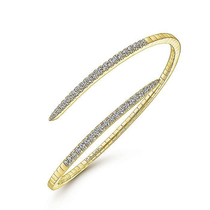 14K Yellow Gold Split Bypass Diamond Bangle