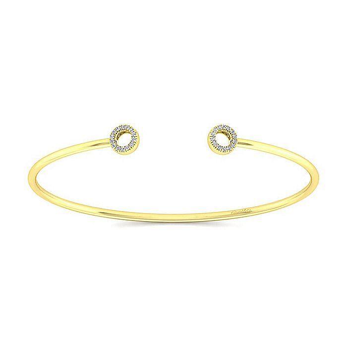 14K Yellow Gold Split Diamond Circles Bangle