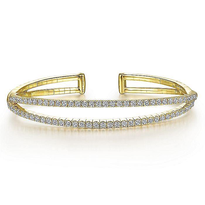 14K Yellow Gold Split Diamond Cuff Bangle