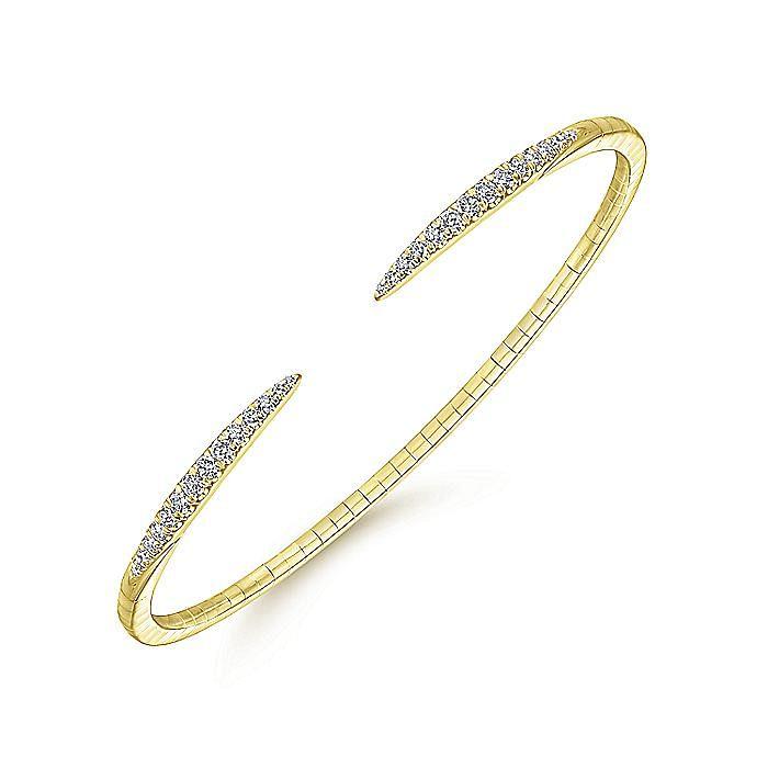 14K Yellow Gold Split Diamond Spike Bangle