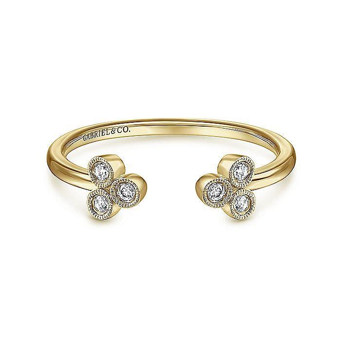 14K Yellow Gold Split Ring with Bezel Set Triple Diamond Clusters