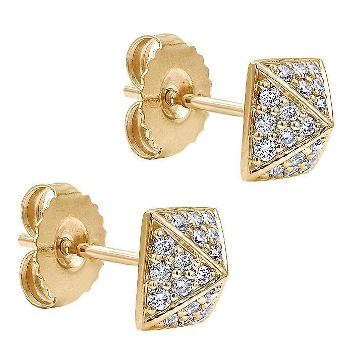 14K Yellow Gold Square Shape Diamond Stud Earrings