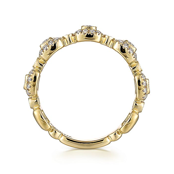 14K Yellow Gold Square Station Stackable Diamond Ring