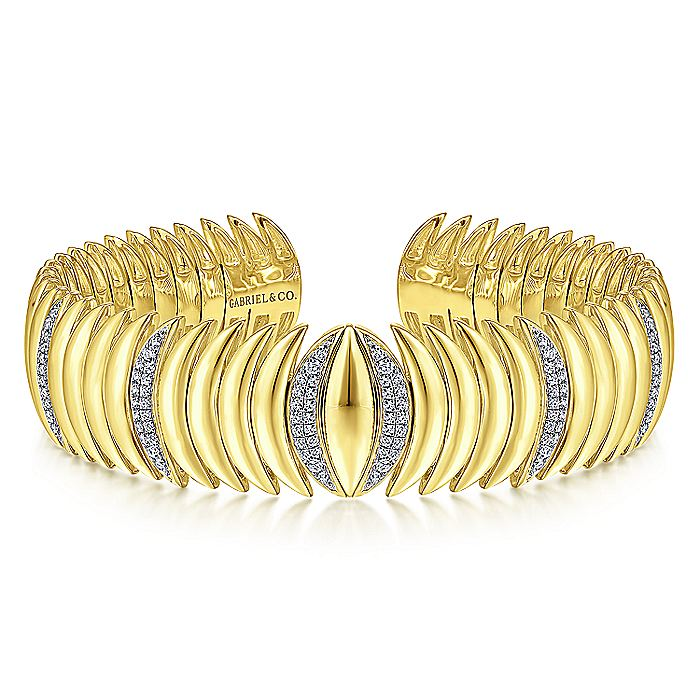 14K Yellow Gold Stacked Crescent Cuff Bracelet with Pavé Diamond Stations