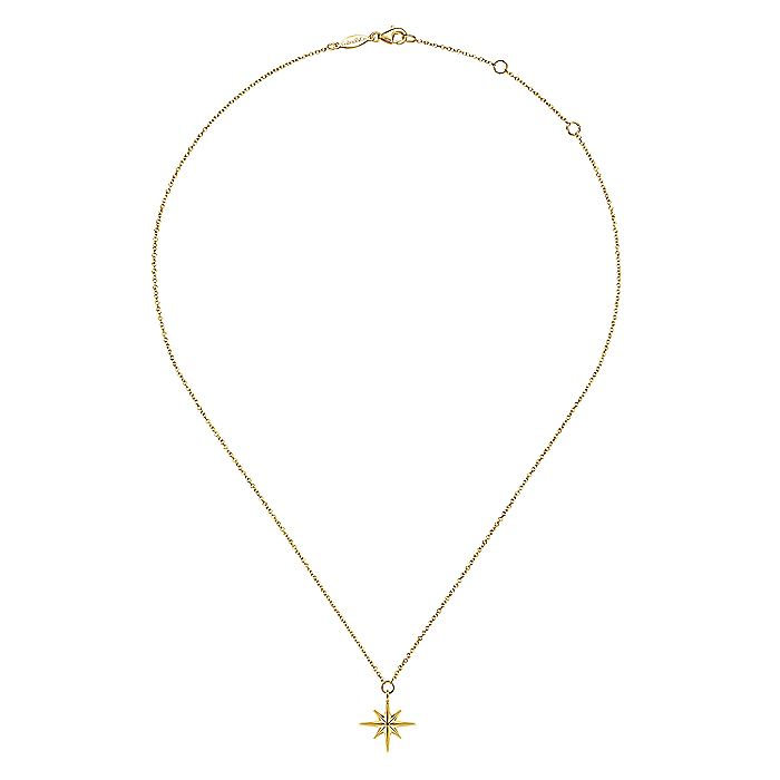 14K Yellow Gold Star Pendant Necklace