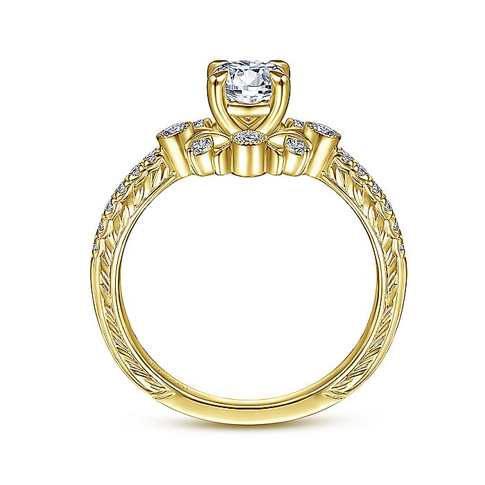 14K Yellow Gold Starburst Halo Round Diamond Engagement Ring