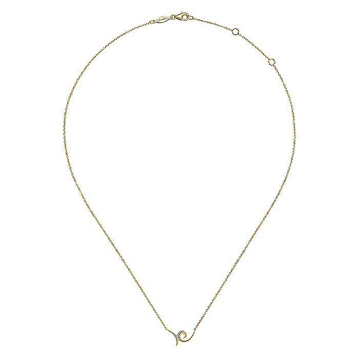 14K Yellow Gold Swirl Pendant Necklace
