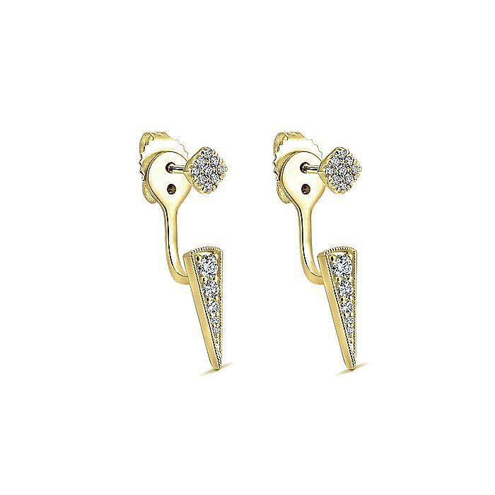 14K Yellow Gold Tapered Diamond Bar Stud Earrings