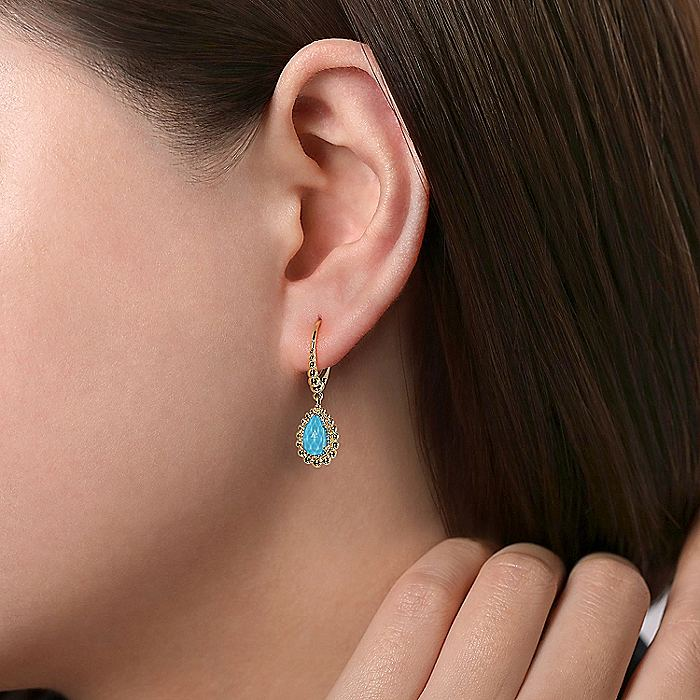 14K Yellow Gold Teardrop Blue Topaz with Beaded Frame Drop Earrings