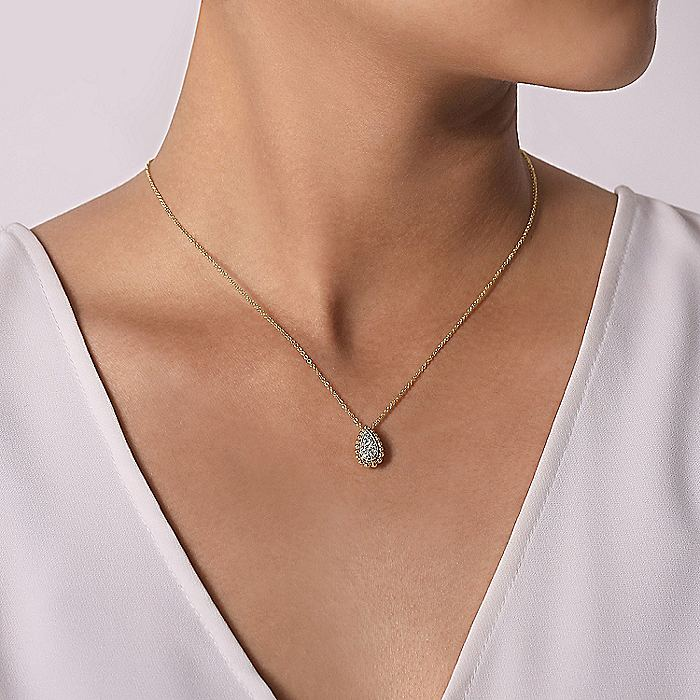 14K Yellow Gold Teardrop Diamond Pavé Pendant Necklace with Beaded Frame