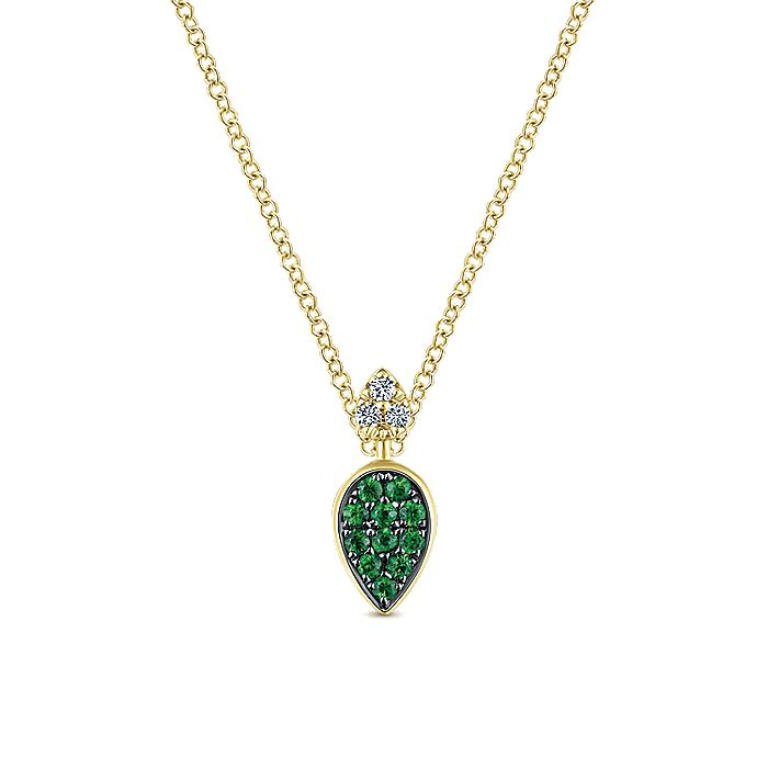 14K Yellow Gold Teardrop Pendant Necklace with Emeralds and Diamonds