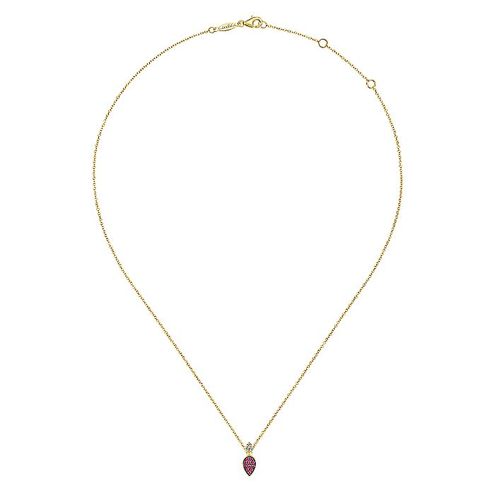 14K Yellow Gold Teardrop Pendant Necklace with Rubies and Diamonds