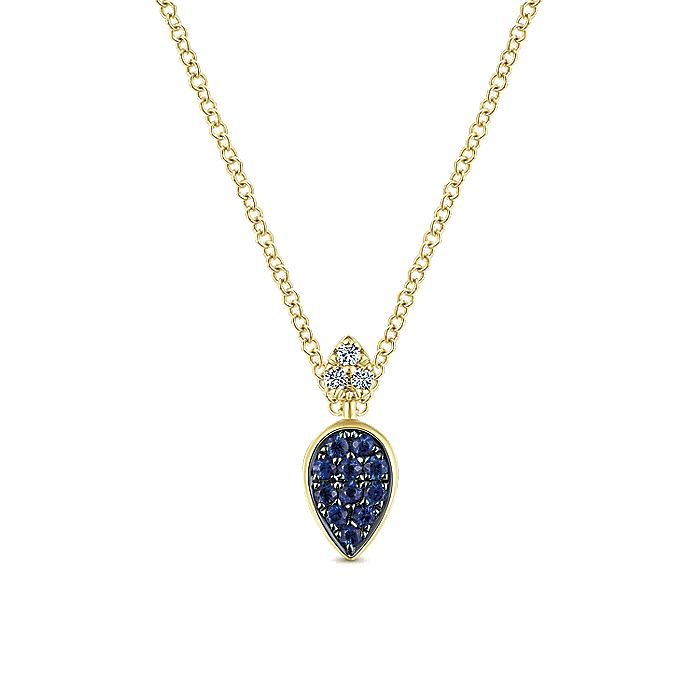14K Yellow Gold Teardrop Pendant Necklace with Sapphires and Diamonds