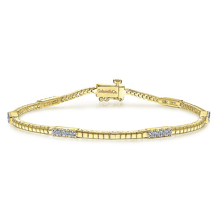 14K Yellow Gold Tennis Bracelet with Diamond Stations