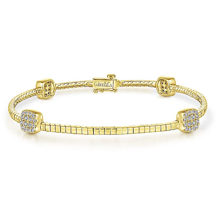 14K Yellow Gold Tennis Bracelet with Round Cluster Diamond Stations