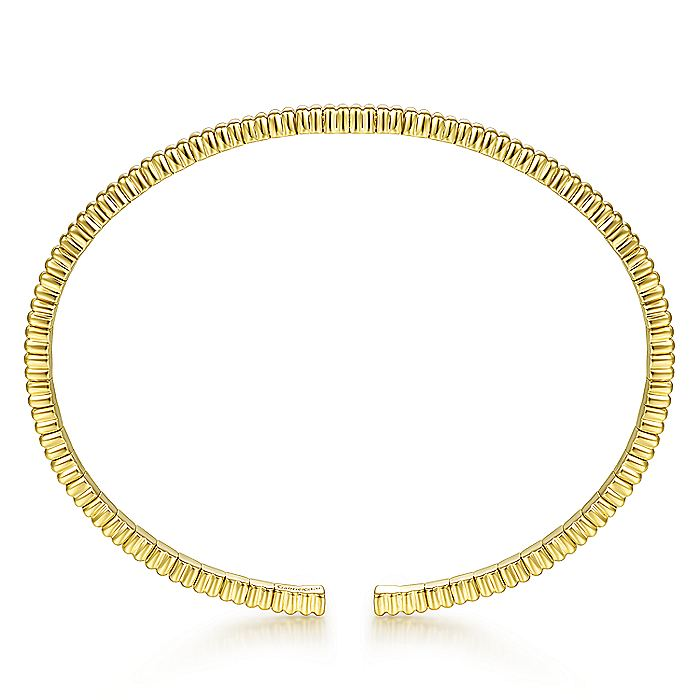 14K Yellow Gold Textured Cuff Bracelet