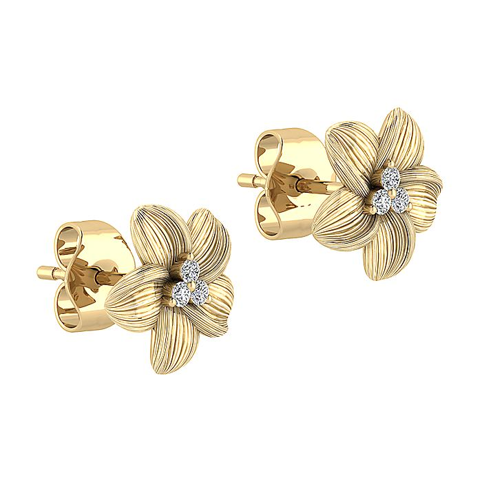 14K Yellow Gold Textured Flower and Diamond Stud Earrings