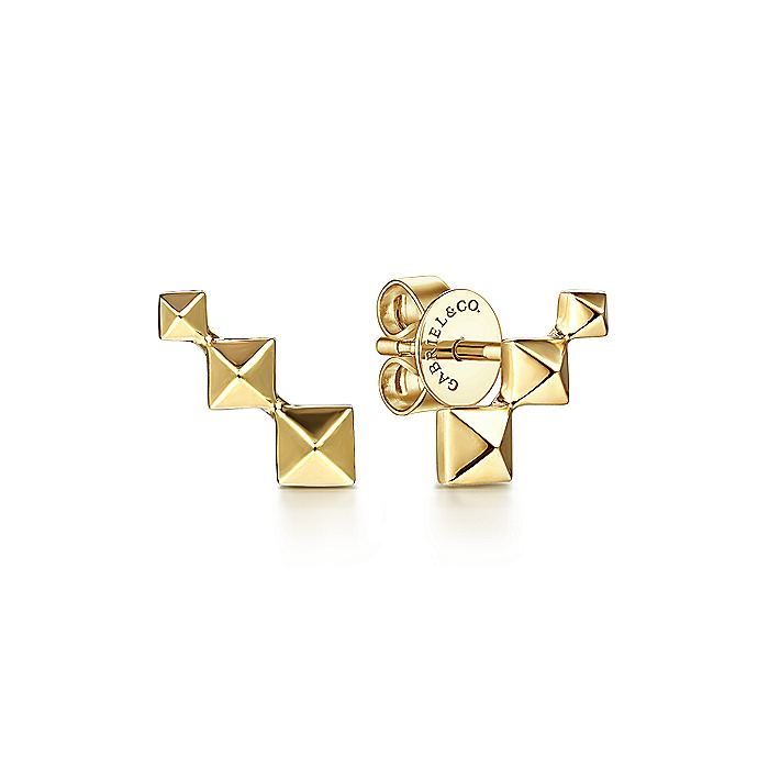 14K Yellow Gold Three Pyramid Stud Earrings