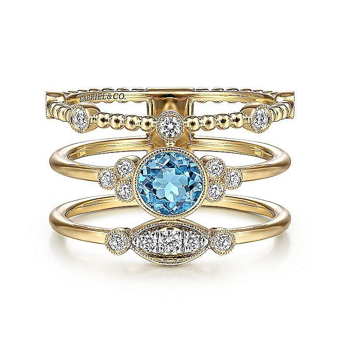 14K Yellow Gold Three Row Beaded Round Blue Topaz Ring