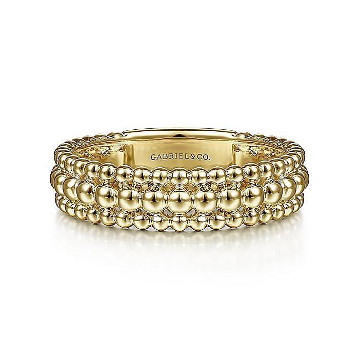 14K Yellow Gold Three Row Bujukan Bead Ring