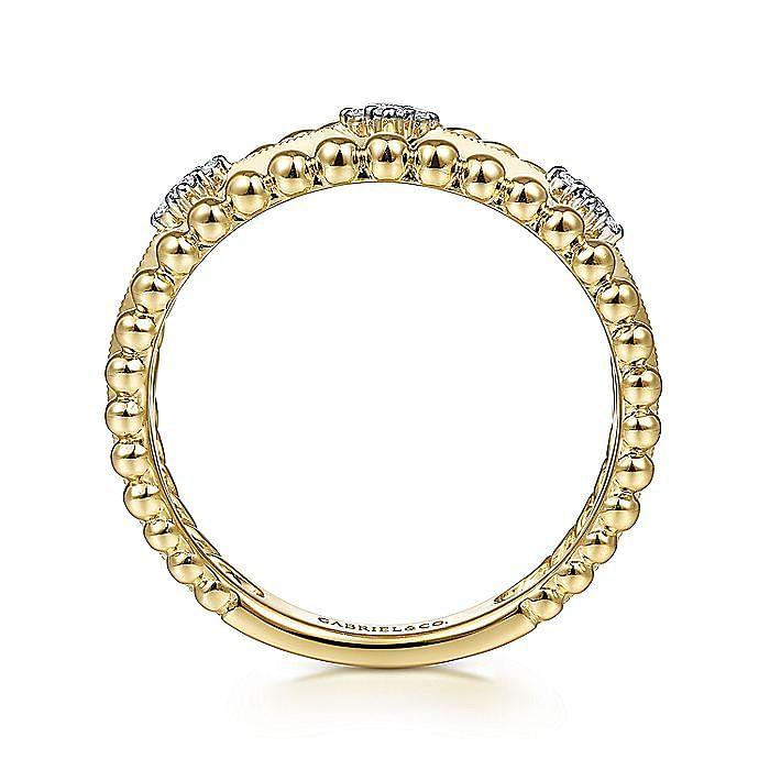 14K Yellow Gold Three Row Diamond Station Open Ring
