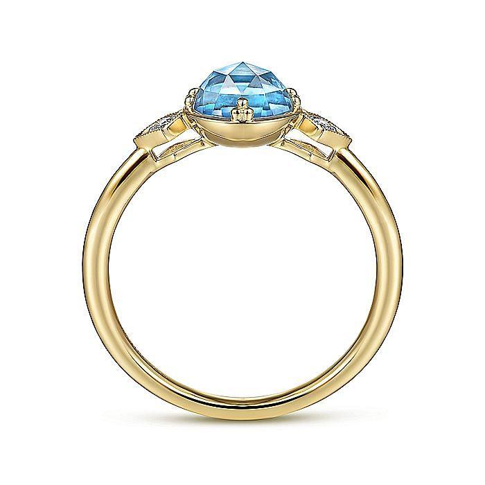14K Yellow Gold Three Stone Blue Topaz and Diamond Ring