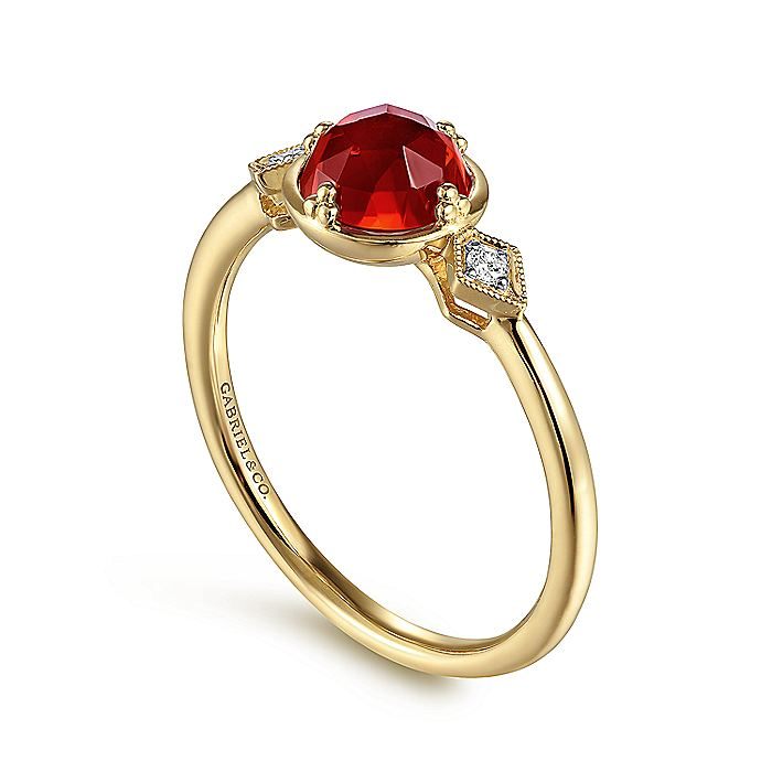 14K Yellow Gold Three Stone Garnet and Diamond Ring