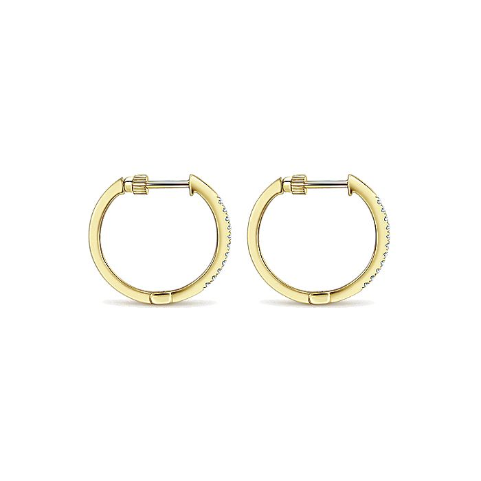14K Yellow Gold Tiger Claw Set 15mm Round Classic Diamond Hoop Earrings