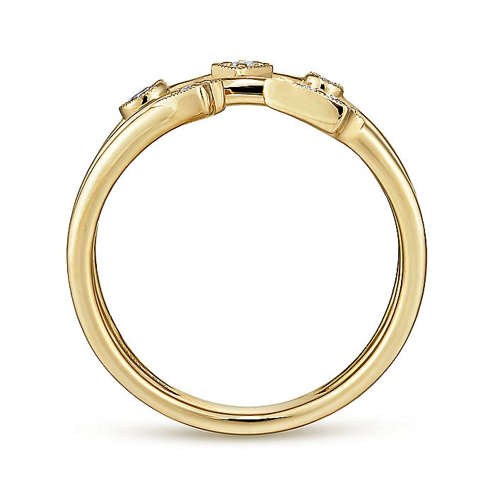 14K Yellow Gold Tri Band Diamond Station Ring