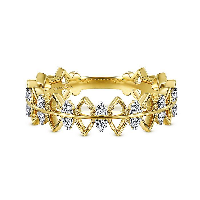 14K Yellow Gold Triangle and Diamond Station Stackable Ring