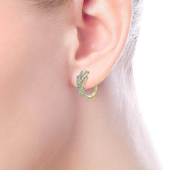 14K Yellow Gold Triple Chevron 15mm Diamond Huggie Earrings