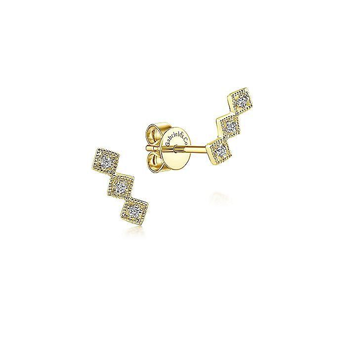 14K Yellow Gold Triple Square Station Diamond Stud Earrings