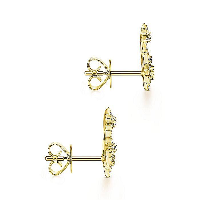 14K Yellow Gold Triple Star Curved Stud Diamond Earrings
